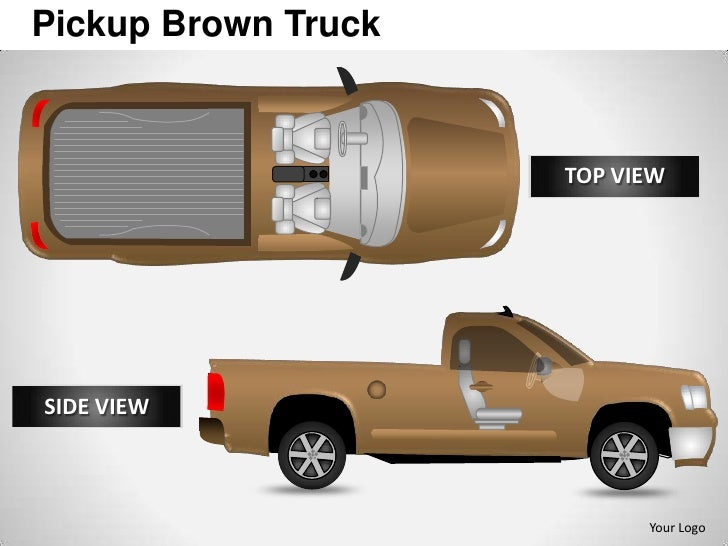 Pickup brown truck side view powerpoint presentation templates