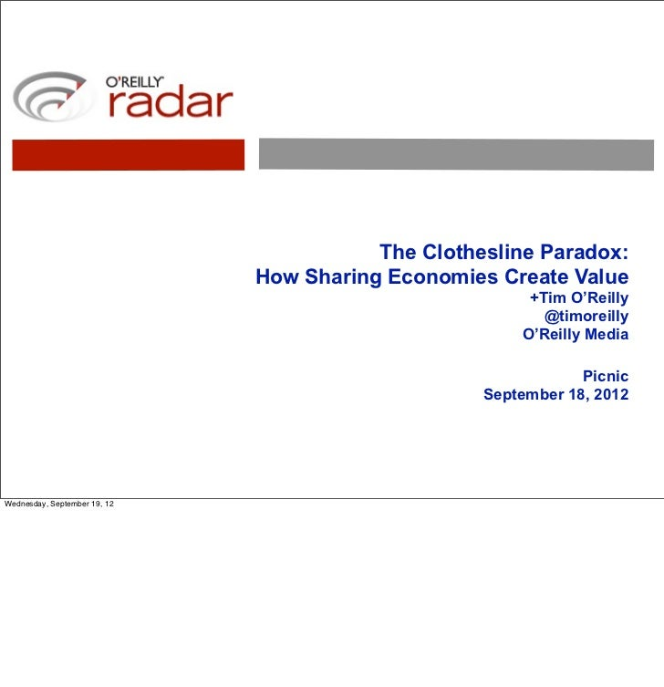 Picnic version: The Clothesline Paradox and the Sharing Economy (pdf with notes)