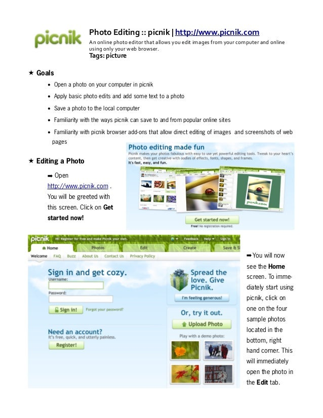 Online Image Editing with picnik