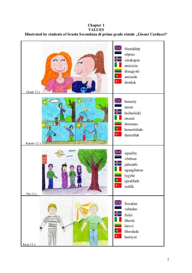 Chapter 1                                         VALUES  Illustrated by students of Scuola Secondana di primo grado stata...