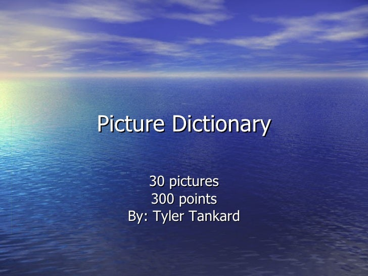 Picture Dictionary 30 pictures 300 points By: Tyler Tankard
