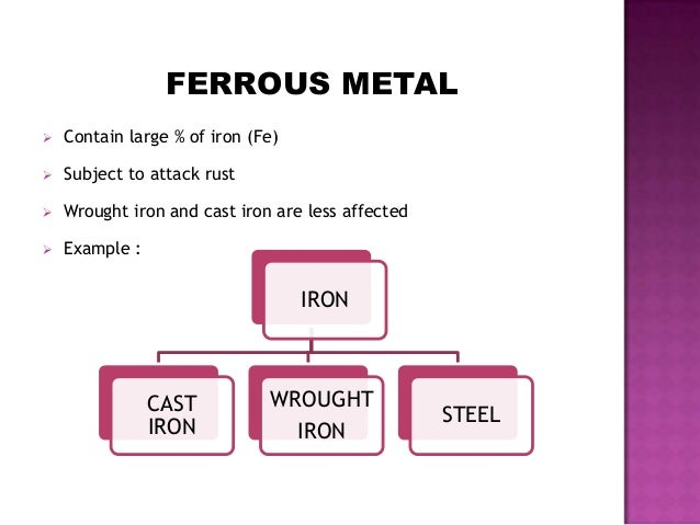 FERROUS METAL  Contain large % of iron (Fe)  Subject to attack rust  Wrought iron and cast iron are less affected  Exa...