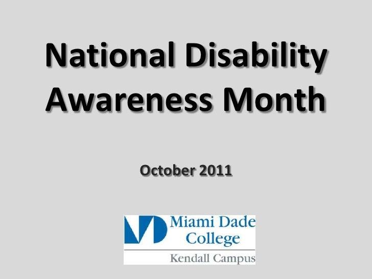 National Disability Awareness Month<br />October 2011<br />