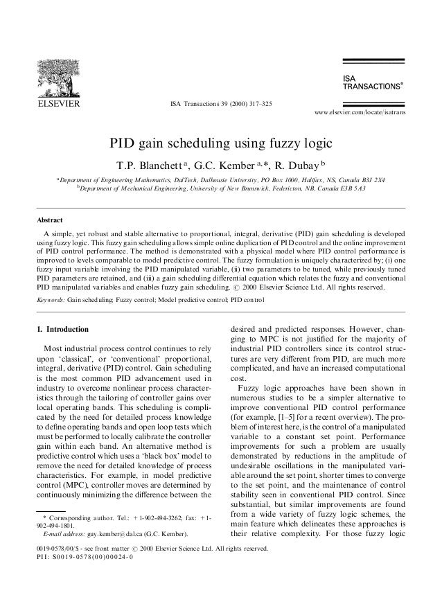 PID gain scheduling using fuzzy logic
