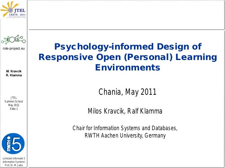 Psychology-informed Design of Responsive Open (Personal) Learning Environments