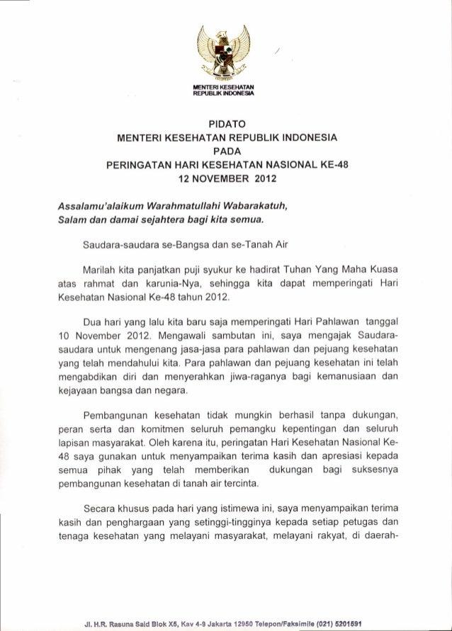 Pidato Menteri Kesehatan RI, dr. Nafsiah Mboi, Sp.A, MPH dalam rangka Hari Kesehatan Nasional (HKN) ke 48 tahun 2012