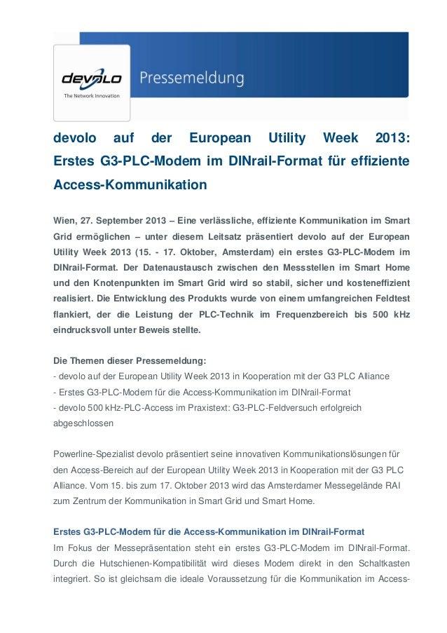 devolo  auf  der  European  Utility  Week  2013:  Erstes G3-PLC-Modem im DINrail-Format für effiziente Access-Kommunikatio...