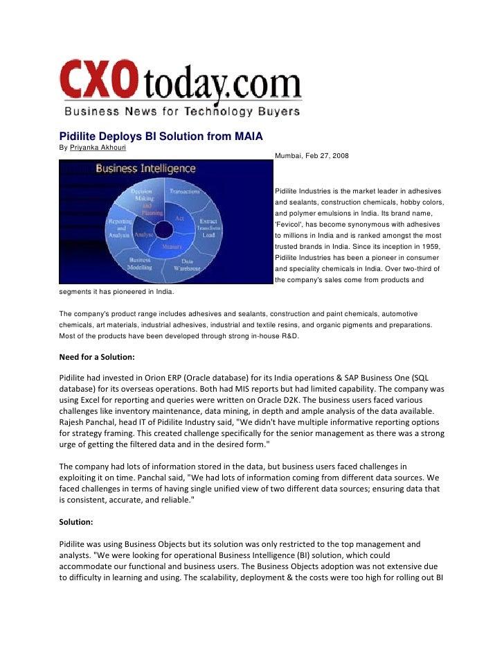 Pidilite Deploys 1KEY BI Solution From MAIA on CXO Today
