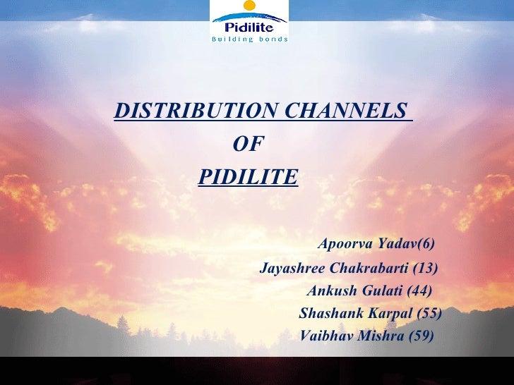<ul><li>DISTRIBUTION CHANNELS  </li></ul><ul><li>OF </li></ul><ul><li>  PIDILITE   </li></ul><ul><li>  </li></ul><ul><li> ...