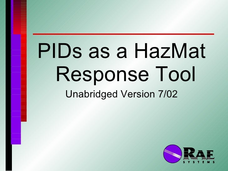 Pi Ds As A Hazmat Response Tool Unabridged 0207