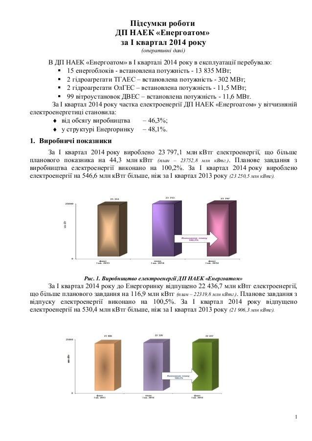 Підсумки роботи ДП НАЕК «Енергоатом» за І квартал 2014 року