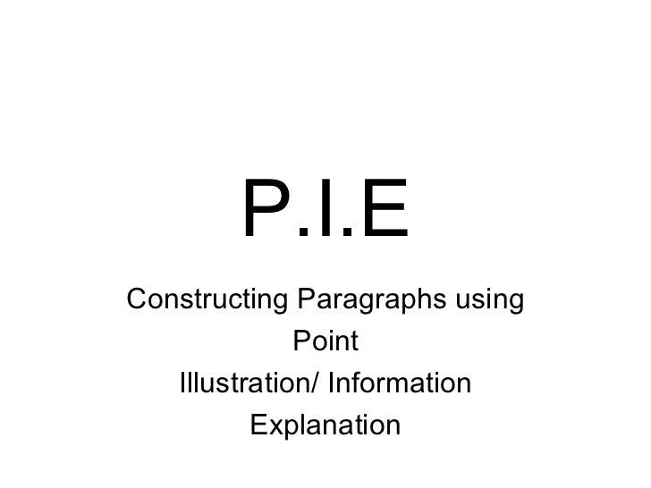 P.I.E Constructing Paragraphs using Point Illustration/ Information Explanation