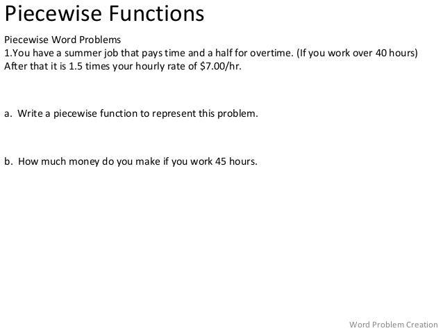 Printables Piecewise Word Problems Worksheet With Answers functions word problems worksheet davezan piecewise davezan