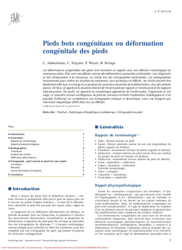 ¶ 31-110-A-10                                               Pieds bots congénitaux ou déformation                         ...
