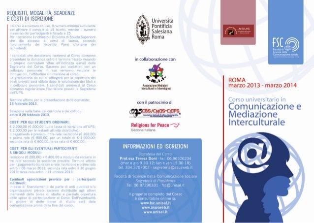 Pieghevole Corso in Comunicazione e mediazione Interculturale