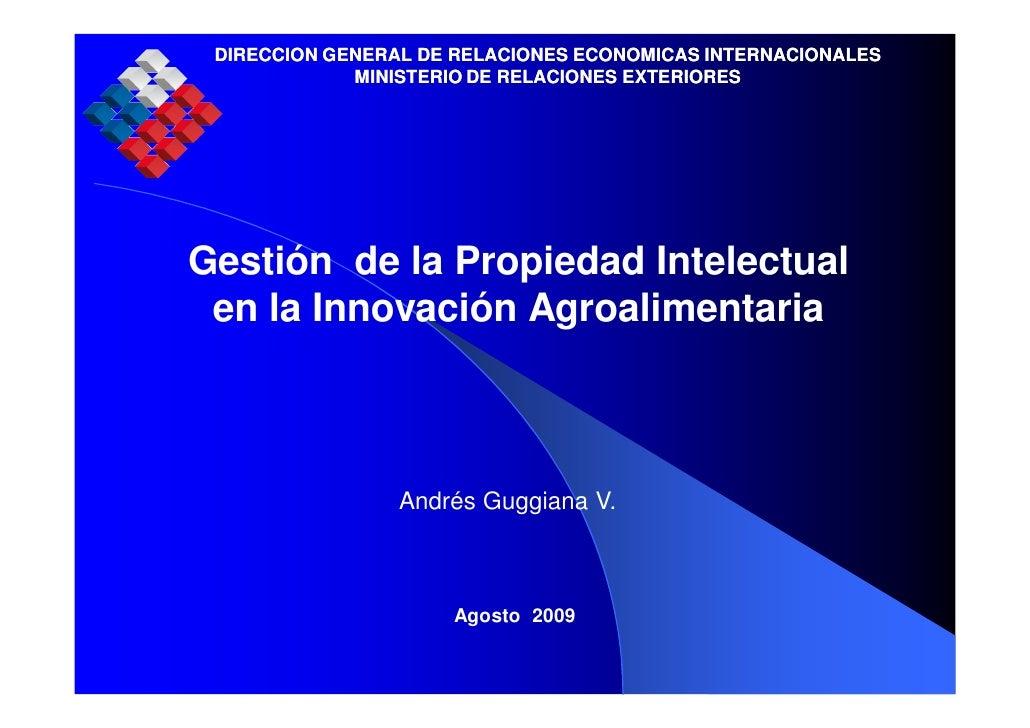 DIRECCION GENERAL DE RELACIONES ECONOMICAS INTERNACIONALES              MINISTERIO DE RELACIONES EXTERIORES     Gestión de...