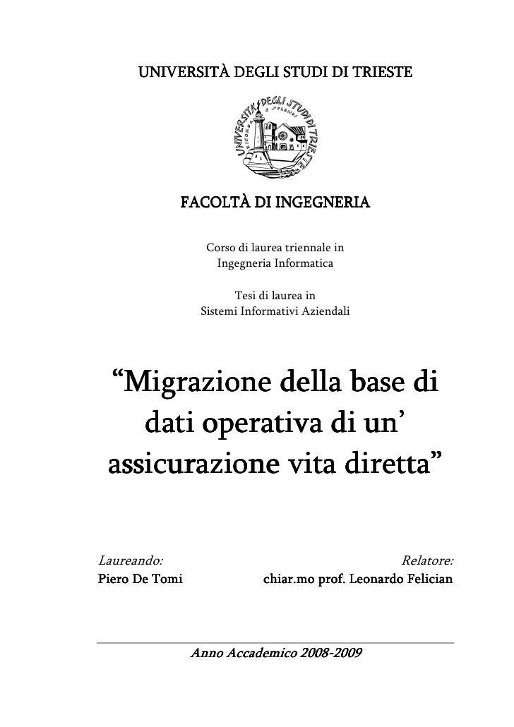 Migrazione della base di dati operativa di un'assicurazione vita diretta