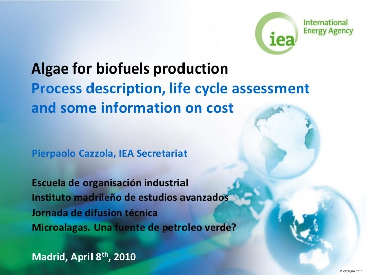 Algae for biofuels production Process description, life cycle assessment and some information on cost  Pierpaolo Cazzola, ...