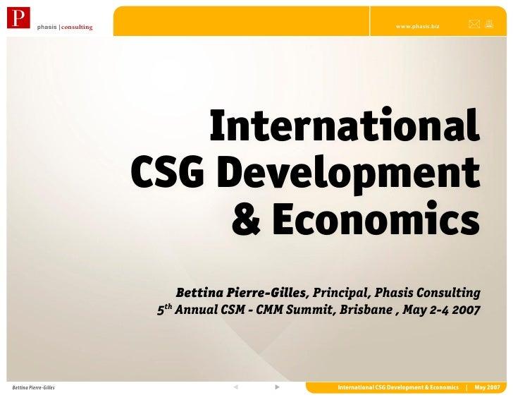 International CSG Development & Economics