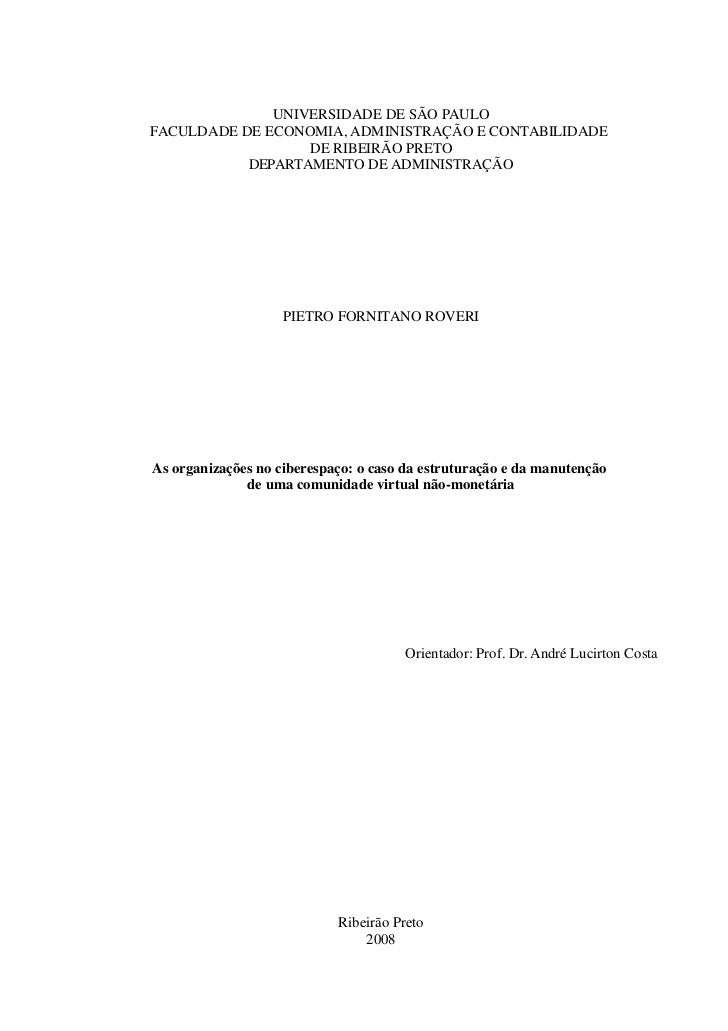 UNIVERSIDADE DE SÃO PAULOFACULDADE DE ECONOMIA, ADMINISTRAÇÃO E CONTABILIDADE                  DE RIBEIRÃO PRETO          ...
