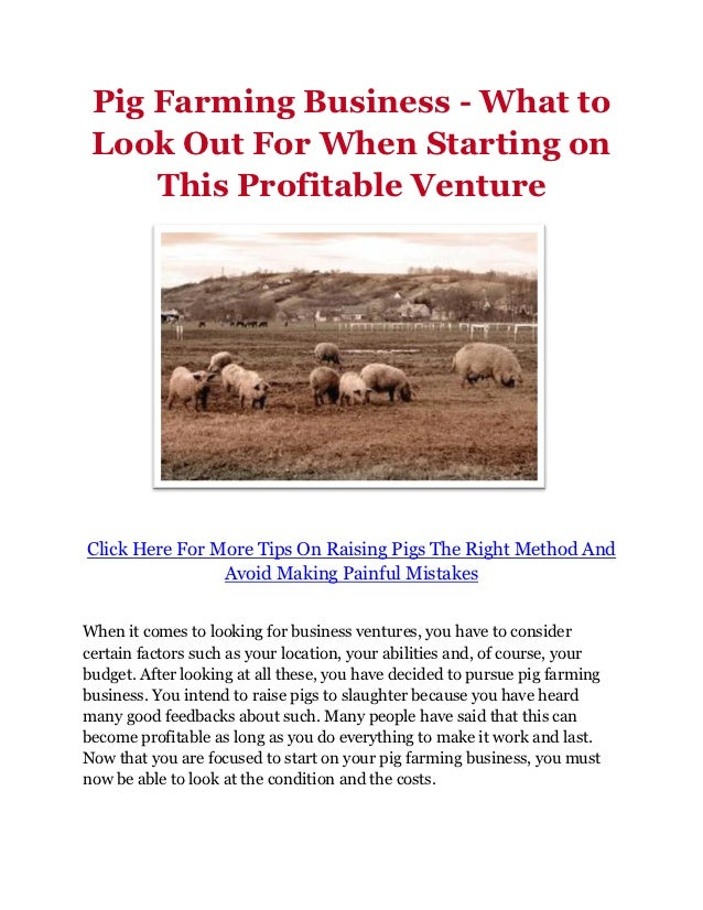 guide to profitable pig farming Pdf guide to profitable investment in pig farming- swine production in nigeria start commercial piggery business in nigeria pig farming in nigeria this section of the website provides information on ontario swine production 12-005w.