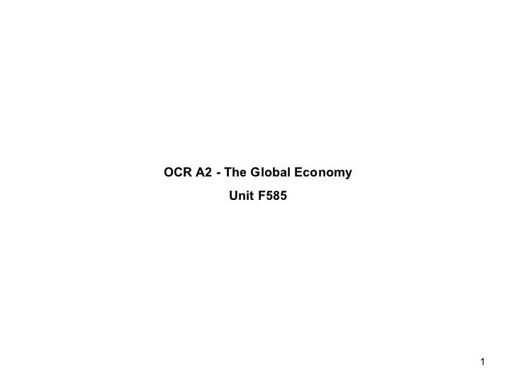 OCR A2 - The Global Economy Unit F585