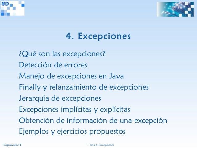 4. Excepciones             ¿Qué son las excepciones?             Detección de errores             Manejo de excepciones en...