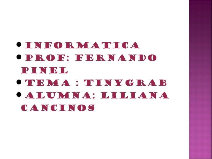 InformaticaProf: Fernando PinelTema : TinyGrabAlumna: Liliana Cancinos