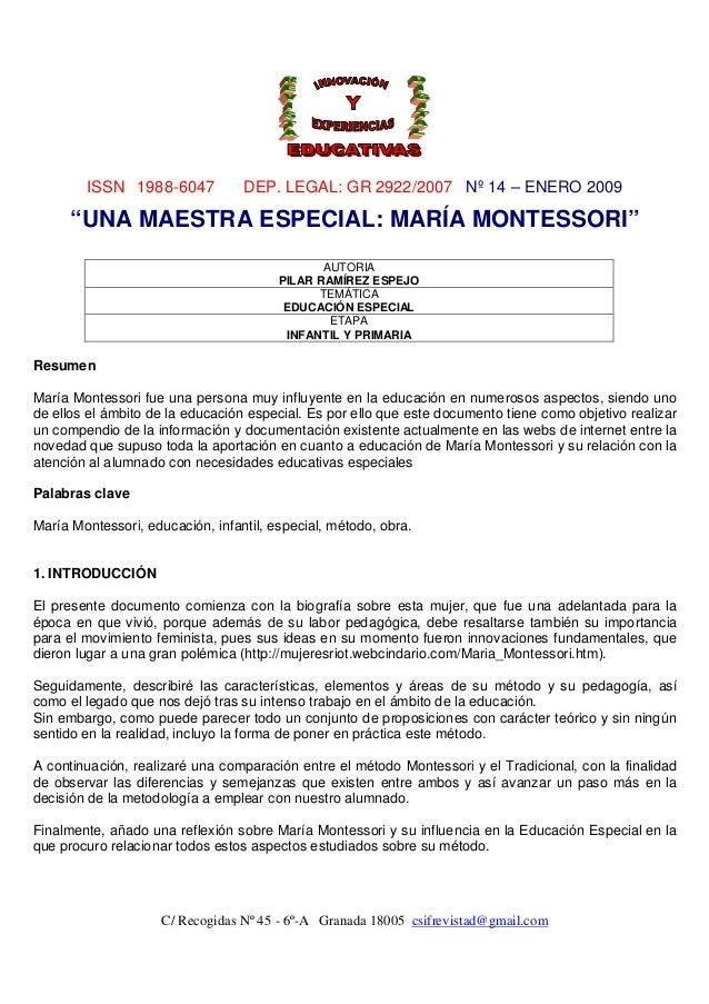 Una maestra especial: María Montessori