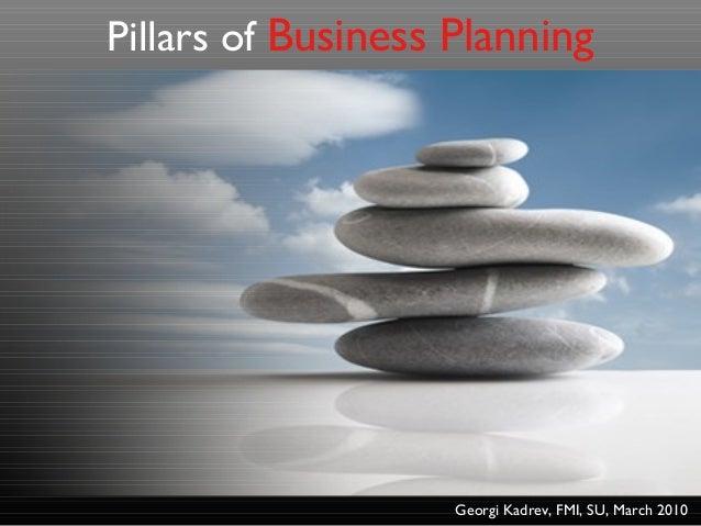 Pillars of Business Planning Georgi Kadrev, FMI, SU, March 2010