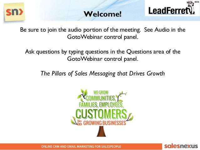 Welcome!Be sure to join the audio portion of the meeting. See Audio in the                   GotoWebinar control panel.  A...