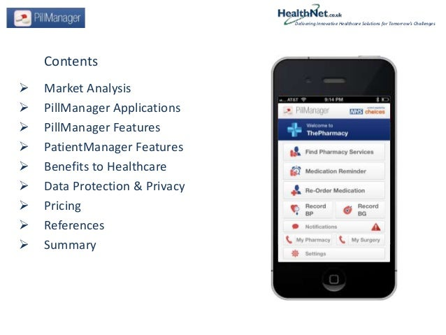 Contents Market Analysis PillManager Applications PillManager Features PatientManager Features Benefits to Healthcare...