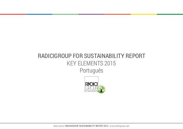 RADICIGROUP FOR SUSTAINABILITY REPORT KEY ELEMENTS 2015 Português Data source: RADICIGROUP SUSTAINABILITY REPORT 2015 - ww...