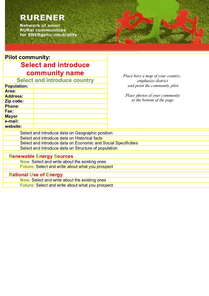 Pilot community:        Select and introduce         community name                                       Place here a map...