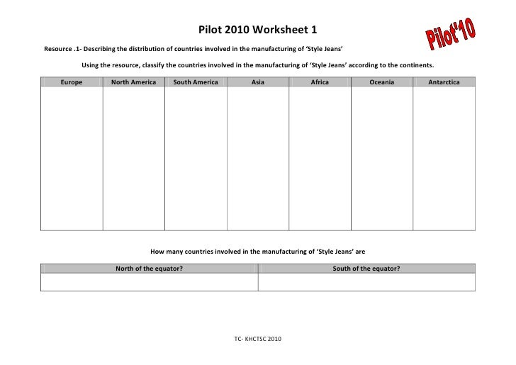 Pilot Pre Release Worksheet One