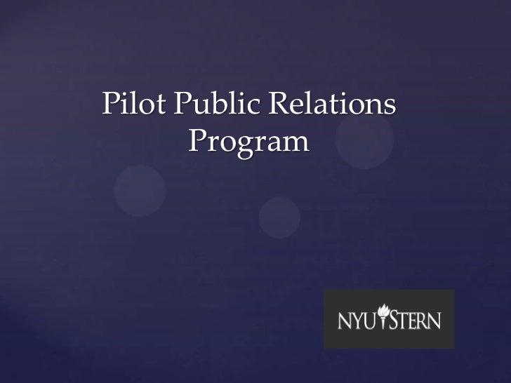 Pilot public relations program