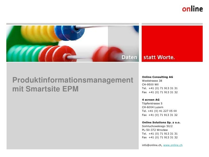 Online Consulting AG Produktinformationsmanagement   Weststrasse 38                                 CH-9500 Wil  mit Smart...