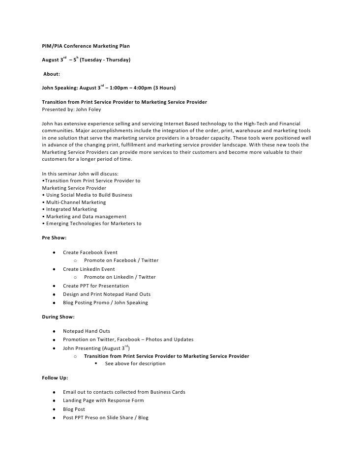 Pim marketing plan