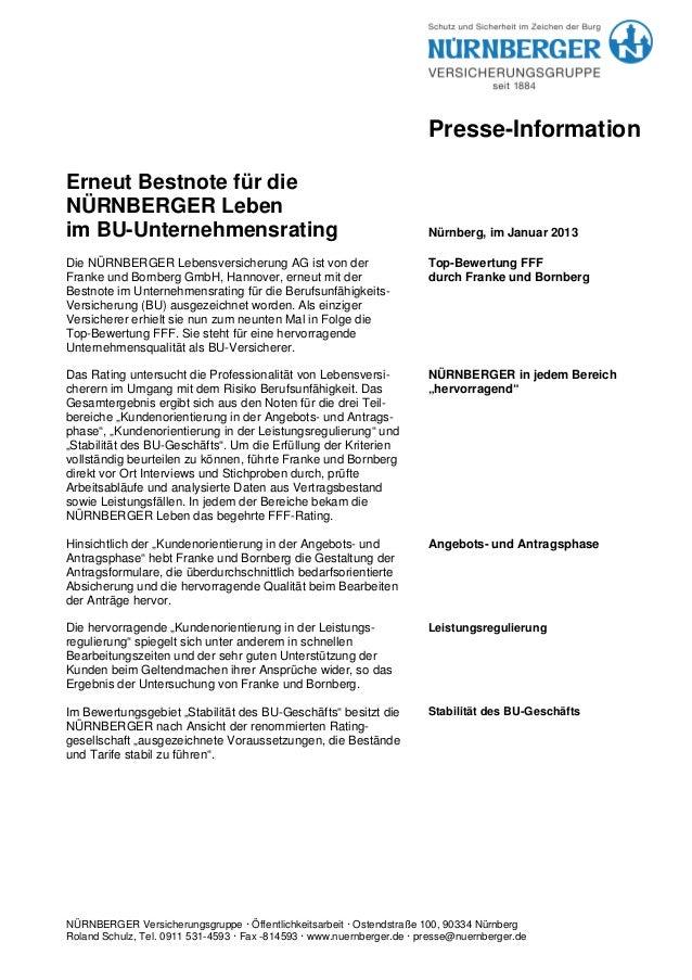 Presse-InformationErneut Bestnote für dieNÜRNBERGER Lebenim BU-Unternehmensrating                                         ...