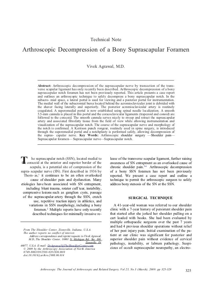 Technical Note Arthroscopic Decompression of a Bony Suprascapular Foramen                                                 ...