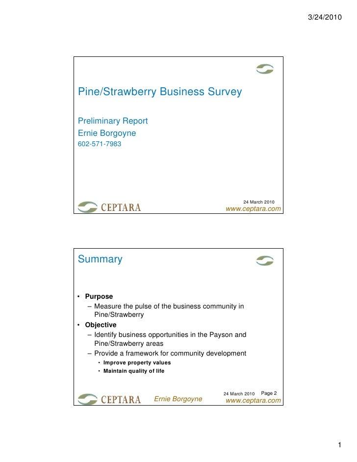 3/24/2010Pine/Strawberry Business SurveyPreliminary ReportErnie Borgoyne602-571-7983                                      ...