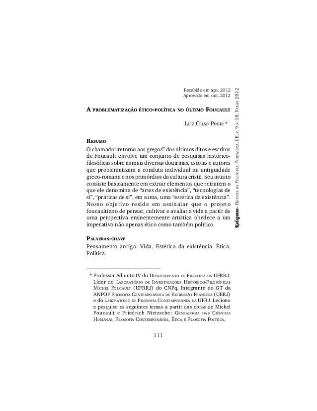 Pinho, l. c. a problematização ético política no último foucault (kalagatos, fortaleza, 2012)
