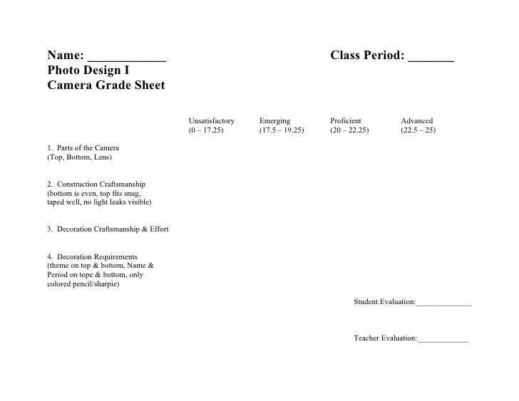 Pinhole camera grade sheet
