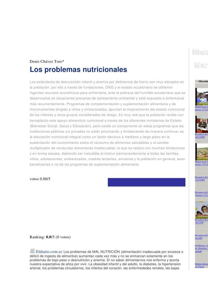 piniónDenis Chávez Toro*Los problemas nutricionalesLos estándares de desnutrición infantil y anemia por deficiencia de hie...