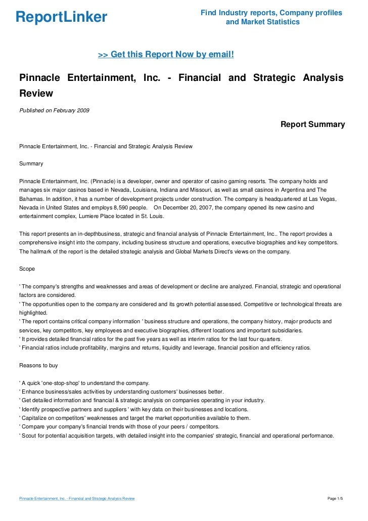 Pinnacle Entertainment, Inc. - Financial and Strategic Analysis Review