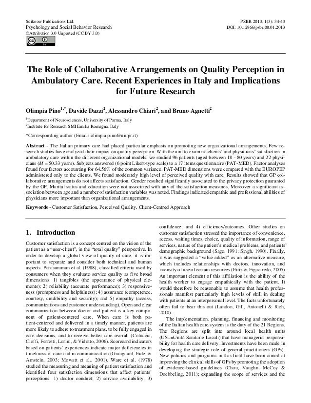 The Role of Collaborative Arrangements on Quality Perception in Ambulatory Care
