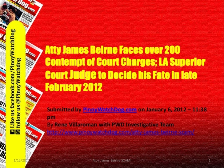 Atty James Beirne Faces over 200      Contempt of Court Charges; LA        Atty James Beirne Faces over 200        Contemp...