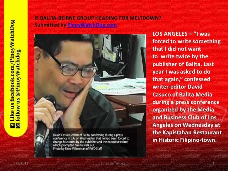 IS BALITA-BEIRNE GROUP HEADING FOR MELTDOWN?           Submitted by PinoyWatchDog.com                                     ...