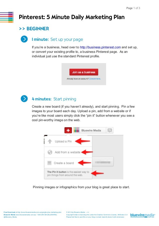 Pinterest 5 Minute Daily Marketing Plan