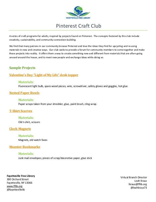 Pinterest craft club